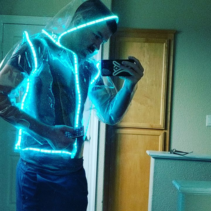 I made a transparent light-up RGB/LED hoodie! )'( 😎